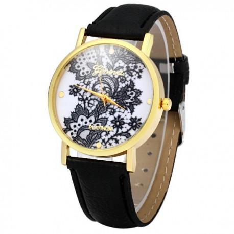 Reloj Flores Negro