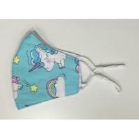 Mascarilla Infantil Unicornio Azul
